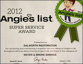 2012 Angie's List Super Service Award by Dallas/Ft. Worth Chapter
