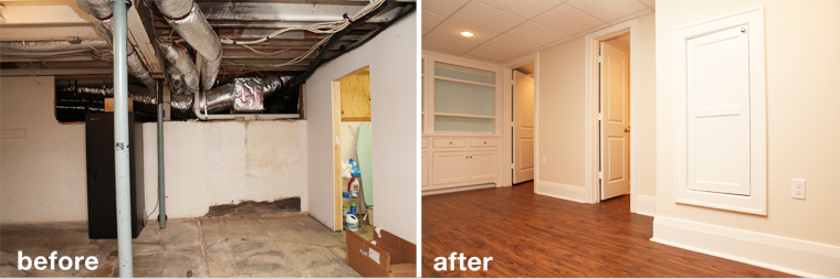 Before and after image of a remodeled basement