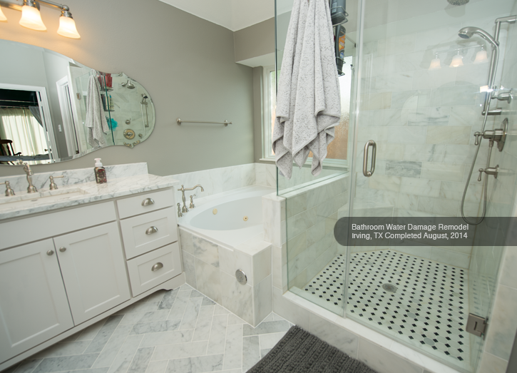 remodeled bathroom by Dalworth Restoration due to a bathtub overflow