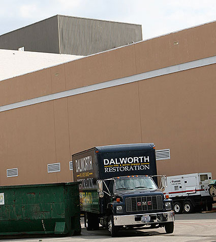 Dalworth Restoration at a commercial mall cleaning up a sewage block and water damage project.