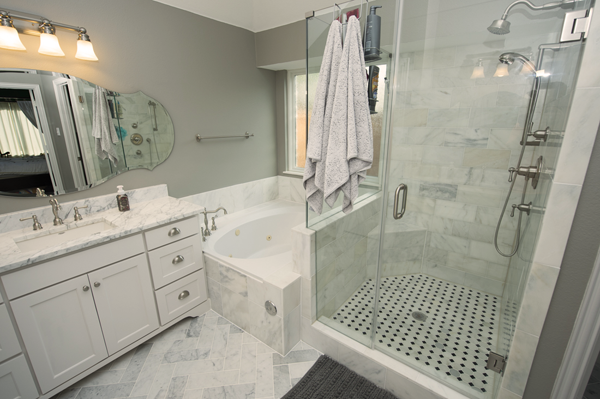 Remodeled bathroom that was completed by our restoration team