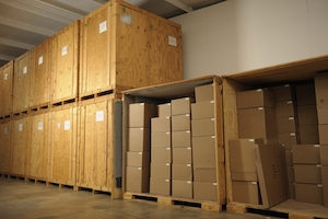 Boxes at storage facility
