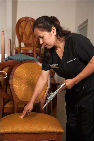 Technician cleaning furniture