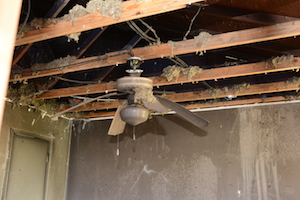 the interior of a home damaged by fire and requiring extensive smoke odor removal.