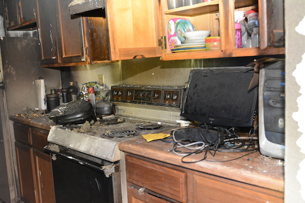 fire damage in kitchen of home
