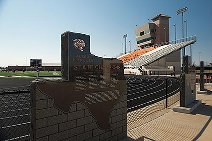 The powerhouse Aledo, TX football team has won five state championship titles with three being consecutive years from 2009-2011.