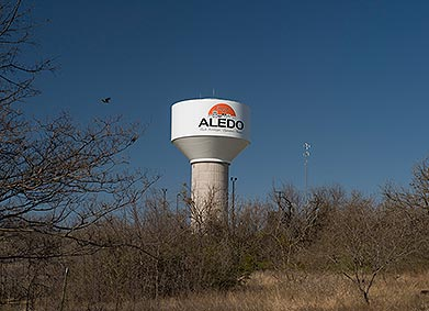 The water tower in downtown Aledo, TX.