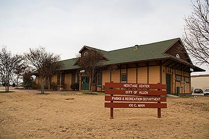 The Allen, TX Heritage Center is a train depot and museum exhibiting the town's historical displays.