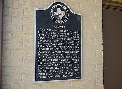 The Argyle, TX city sign provides a brief description of the community's rich history.