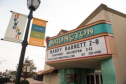 The Arlington, TX Music Hall was built in 1950 and still remains as a theater for concerts and shows.