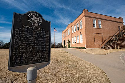 The Old Bedford School is a historical landmark of the 1915 Bedford School in Bedford, TX.