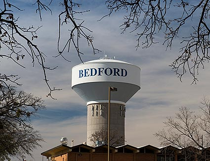 A water tower located in Bedford, TX.