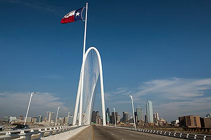 The Margaret Hunt Hill bridge is one of three Santiago Calatrava designed bridges being built over the Trinity River in Dallas, TX.