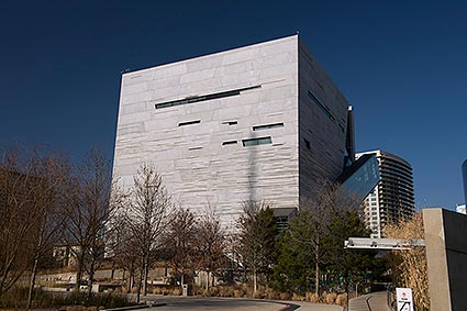The Perot Museum of Nature and Science exhibits science and natural history in Dallas, TX.