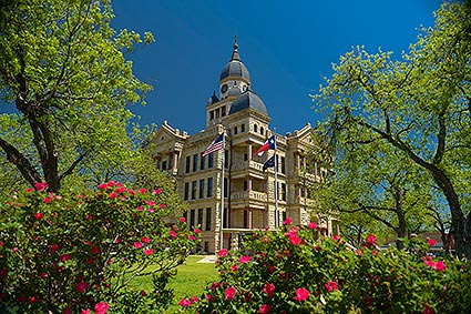 The Denton County Courthouse-on-the-Square is home to government offices and the Courthouse-on-the-Square Museum in Denton, TX.