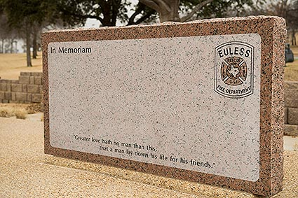 A memorial headstone in honor of the Euless, TX Fire Administration.