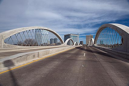 The newly renovated West 7th Street bridge connects Downtown Fort Worth, TX to the city's Cultural District.