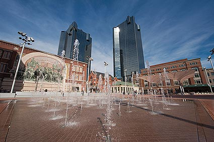 The updated Sundance Square Plaza with jetted water fountains in the heart of Downtown Fort Worth, TX.
