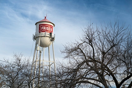 A vintage water tower in Frisco, TX.