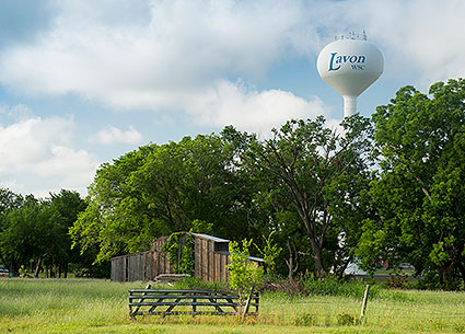 A water tower in Lavon, TX.