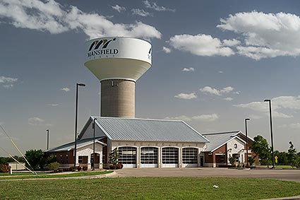 The newest water tower and fire department located off of East Broad Street in Mansfield, TX.