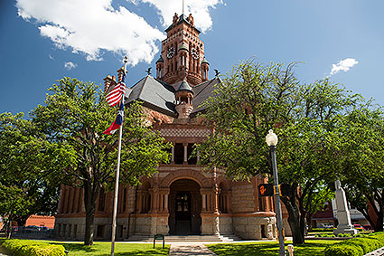 The Ellis County Courthouse in Waxahachie, TX is a one of a kind historical courthouse that was built with a Romanesque architectural style.