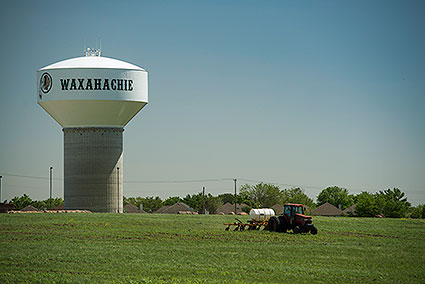 A water tower in Waxahachie, TX.