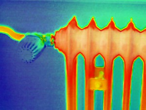 thermal image of radiator behind wall 300x225 Thermal Imaging Testing Detects Moisture and Condensation